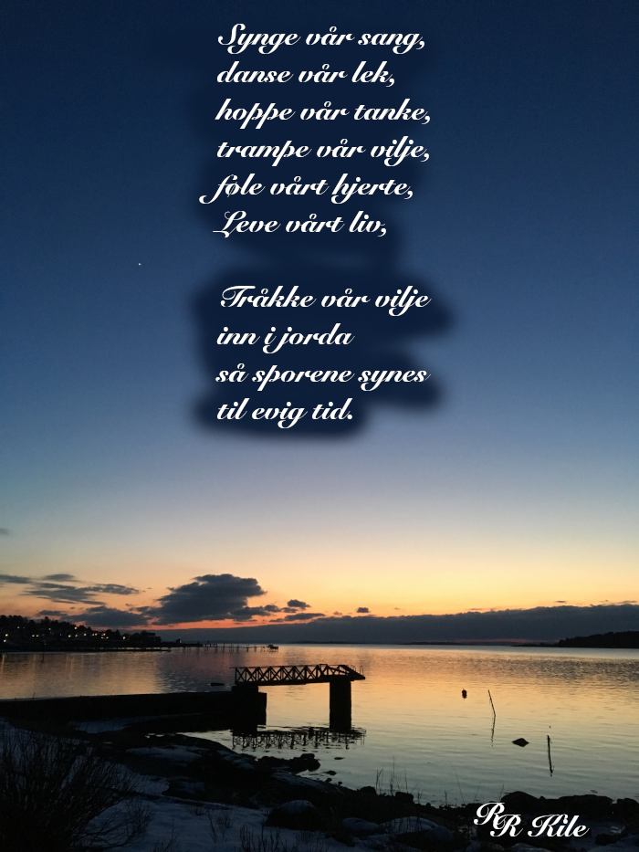 Poesi, tårer av is, tårer av glede,  å snakke ord rundt mennesker. Fremtidshåp. Forfatter R.R. Kile