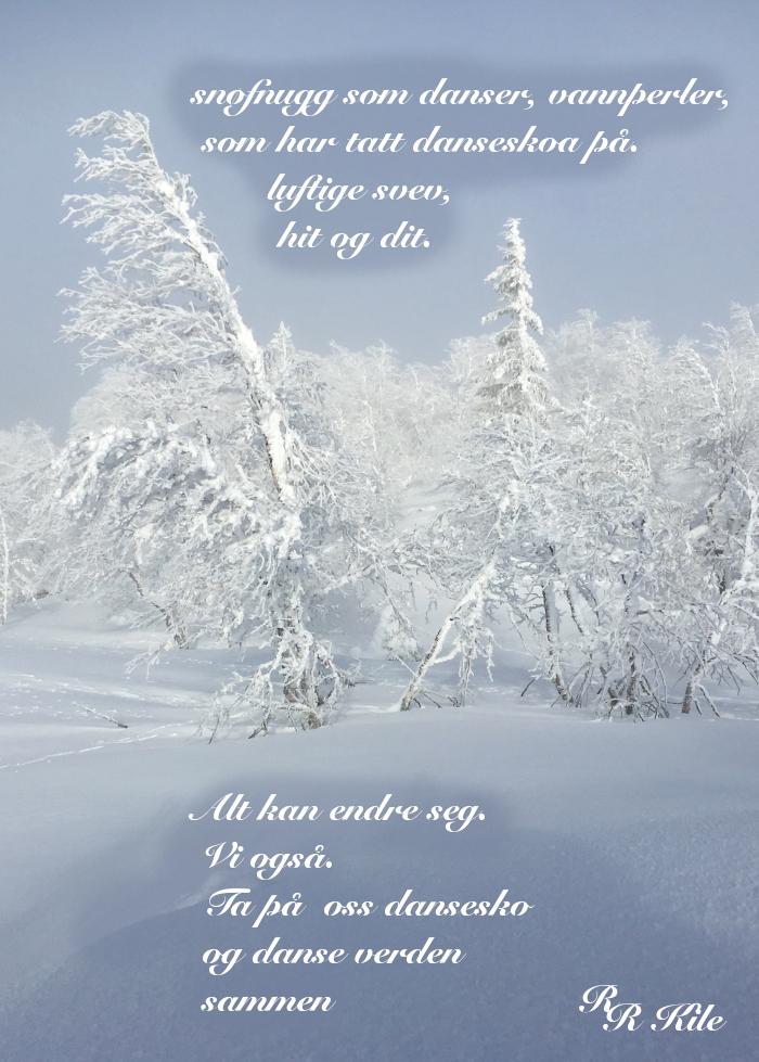 lyrikk, snøfnugg som danser, vannperler,  to mennesker med en regnbue mellom seg, å danse vannperler sammen, tenk for en vrimmel av døde som hviler gjennom årtuseners gang, de spor som aldri ble tråkket, poesi, forfatter R.R. Kile.
