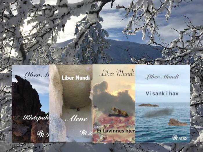 Norsk Fantasy Serien Liber Mundi. de fire første bøkene er utgittm Kistepakta, Alene, Ei løvinnes hjerte, Vi sank i hav. Femte bok er under utarbeidelse under tittelen Lysglimt på snø.