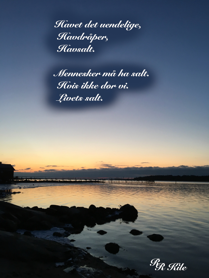 Poesi, livets salt, å flyte på myke vinder, vokse skvallerkål og roser, vokse verden sammen, neida verden, ikke regnvær, i dag skal det være sol i hele landet, å male himmelen ved natt, vers, forfatter R.R. Kile.