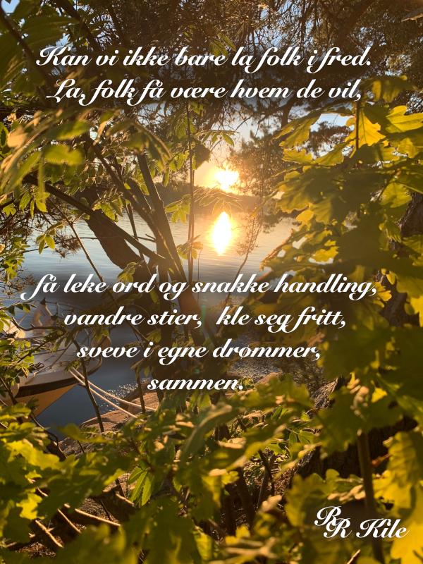 Kan vi ikke bare la folk i fred,  ingen ser frykten i den som slår, i et mangfold over verdens tak,  poesi, vers, å leve verdens håp, forfatter R.R. Kile.